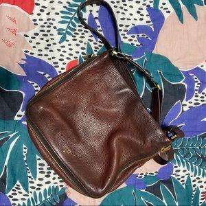 Fossil Maroon Pebble Leather Crossbody Bag